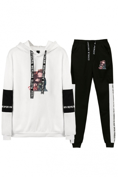 Fashion Comic Character Print Long Sleeve Hoodie with Drawstring Sweatpants Co-ords