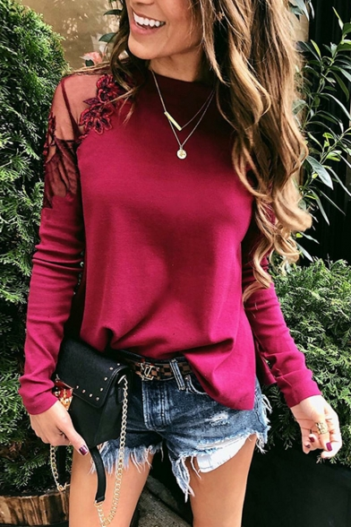 Fashion Sexy Mesh Simple Plain Long Sleeve Round Neck Lace Patch Casual Loose T-Shirt