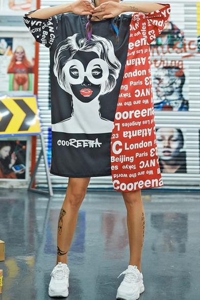 Fashion Street Style Round Neck Half Sleeve Letter Character Print Panelled Asymmetrical Midi Shift T-Shirt Dress