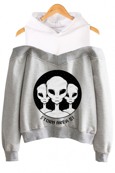 Funny Alien Letter Storm Area Printed Cold Shoulder Long Sleeve Pullover Hoodie