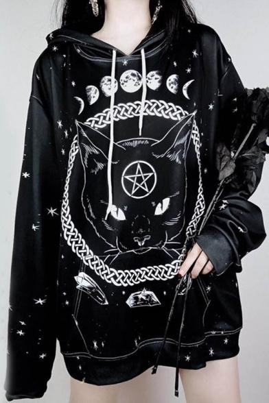 Gothic Style Black Long Sleeve Moon Cat Celestial Printed Womens Loose Straight Longline Hoodie