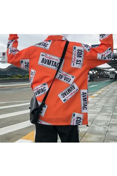 Guys Stylish Letter AVMTAO Print Long Sleeve Zip Up Casual Hip-Hop Track Jacket