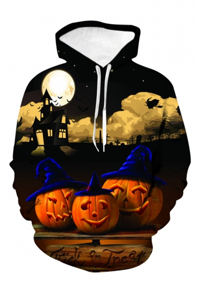Halloween New Fashion Letter TRICK OR TREAT Pumpkin 3D Printed Long Sleeve Drawstring Hooded Black Loose Hoodie