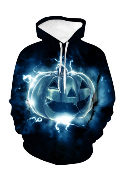 Halloween New Stylish Dark Blue Fire Pumpkin 3D Printed Long Sleeve Loose Fit Pullover Hoodie