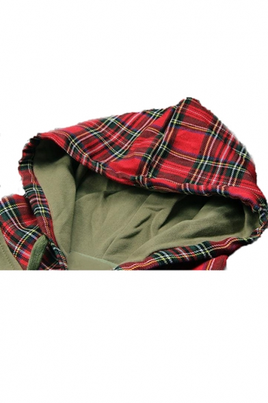 Hot Trendy Letter Plaid Pattern Drawstring Hooded Long Sleeve Army Green Casual Sports Hoodie