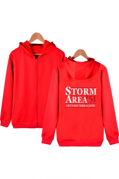Hot Trendy Letter Storm Area Printed Long Sleeve Zip Up Fitted Hoodie