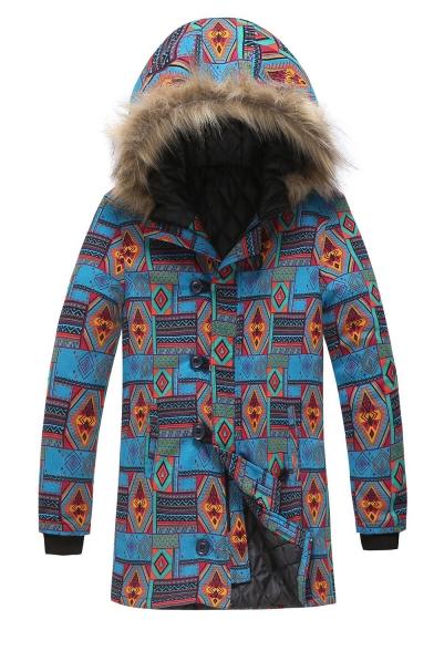 Men's Hot Stylish Tribal Print Single Breasted Long Sleeve Hood Concealed Longline Blue Padded Coat