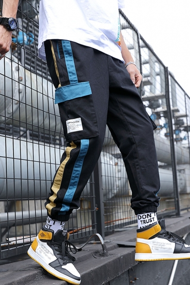 Men's Popular Fashion Contrast Stripe Side Flap Pocket Drawstring Waist Elastic Cuffs Street Trendy Cargo Pants