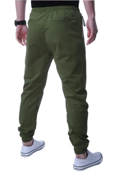 Mens New Fashion Solid Color Drawstring Waist Zipped Pocket Slim Fit Casual Pants
