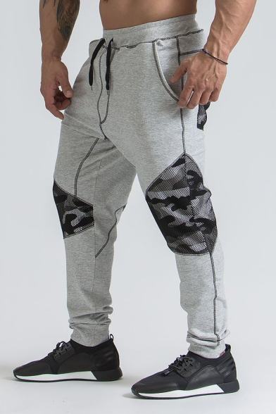 Mens New Stylish Colorblock Camouflage Mesh Patched Drawstring Waist Casual Sports Joggers Sweatpants