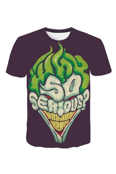 Mens Summer Hot Sale SO SEROUS Letter Print Round Neck Short Sleeve Loose T-Shirt