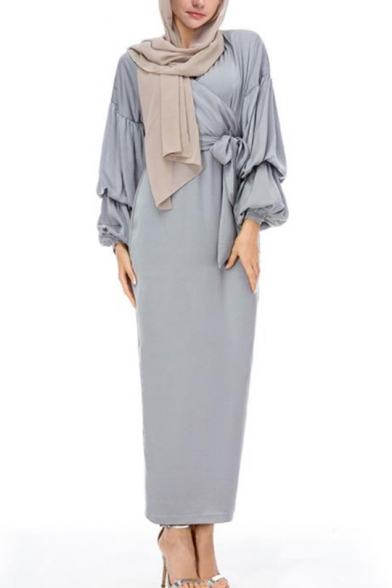 Moslem Hot V-Neck Puff Sleeve Bow-Tied Waist Gray Sheath Column Maxi Dress