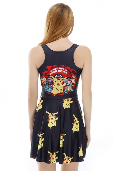 Navy Cartoon Character Printed Sleeveless Round Neck Mini A-Line Pleated Tank Dress