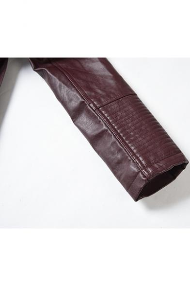 New Arrival Plain Lapel Collar Long Sleeve Double-Breasted Button Tie Waist PU Longline Jacket
