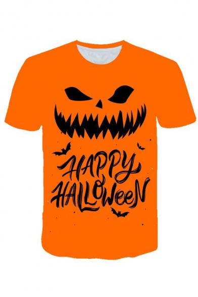 New Arrival Popular Letter HAPPY HALLOWEEN Pumpkin Pattern Round Neck Short Sleeve Orange Casual T-Shirt