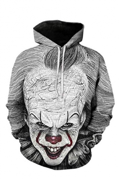 New Fashion Cool Clown 3D Printed Long Sleeve Loose Fit Gray Pullover Hoodie