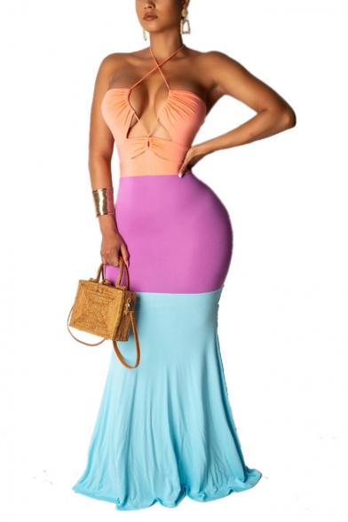 New Fashion Halter Sleeveless Color Block Hollow Twist-Waist Backless Maxi Bodycon Dress, LM555339