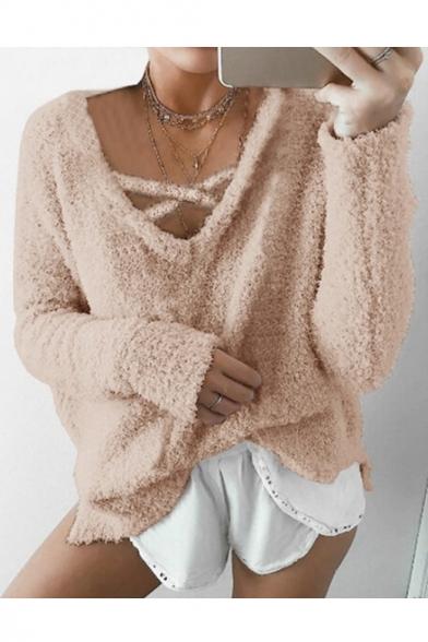 New Fashion V-Neck Long Sleeve Plain Mohair Fluffy Teddy Sweatshirt
