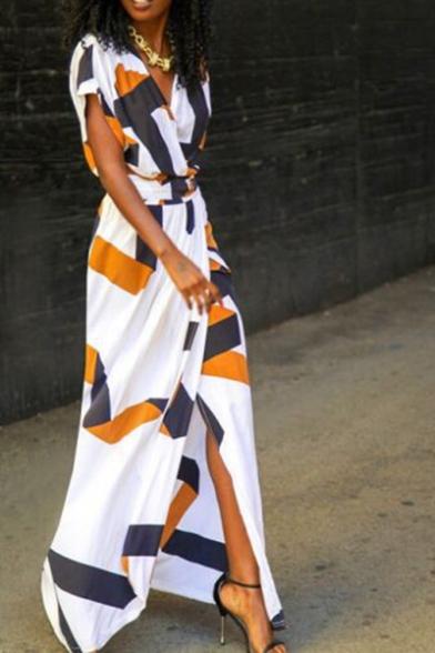 New Trendy Geometric Pattern V-Neck Short Sleeve Tied Waist Maxi Dress