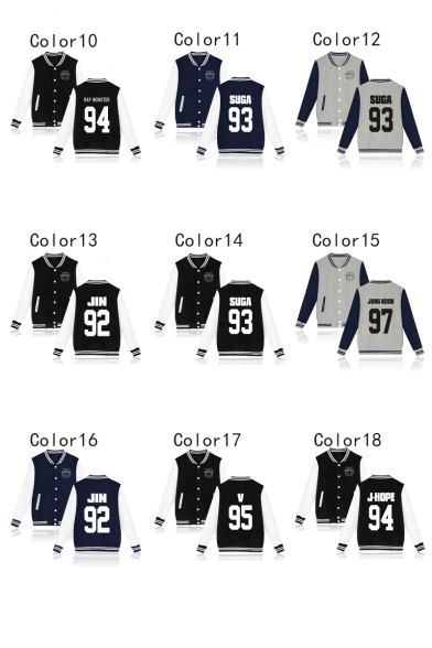 New Trendy Kpop Logo Printed Stand Collar Long Sleeve Button Down Baseball Jacket