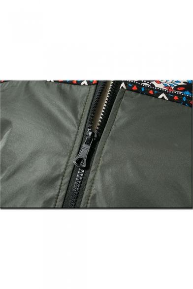 New Trendy Tribal Print Long Sleeve Stand-Collar Zip Up Bomber Jacket For Men