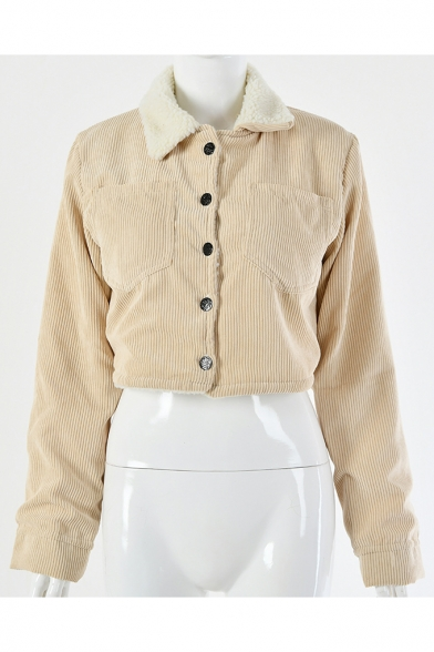 Plain Corduroy Lapel Collar Single Breasted Cropped Shearling Jacket Coat