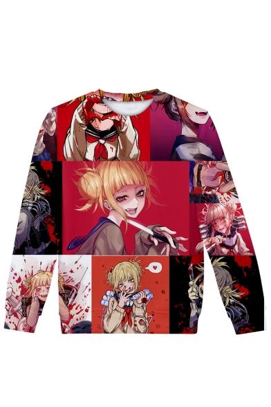 Popular Ahegao Comic Anime Figure Manga Faces 3D Printed Long Sleeve Round Neck Pullover Sweatshirts