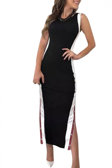 Stylish Black Sleeveless Split Side Maxi Bodycon Dress