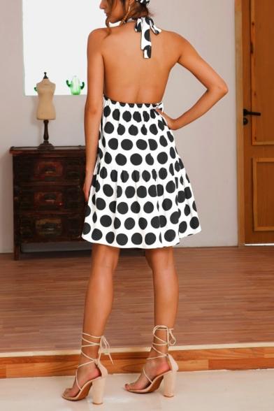 Stylish Polka Dot Printed Halterneck Sleeveless Open Back Swing Dress