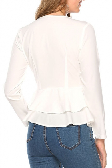 Stylish Simple Plain Sexy Plunging Neck Ruffle Hem Double Button Fitted White Blouse Top