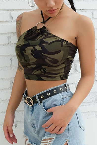 Summer Hot Stylish Camouflage Print Halter Neck Sleeveless Sexy Green Cropped Tee