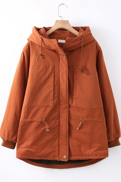 Sweet Girls Retro Simple Plain Long Sleeve Hooded Warm Cotton Coat
