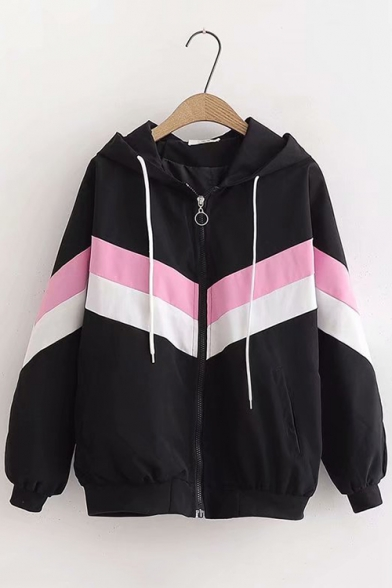 Trendy Chevron Stripe Color Block Long Sleeve Hooded Zip Up Casual Jacket Coat