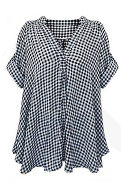 Women's Classic Plaid Print Short Sleeve V-Neck Black And White Fitted Casual Blouse T-shirt Tops