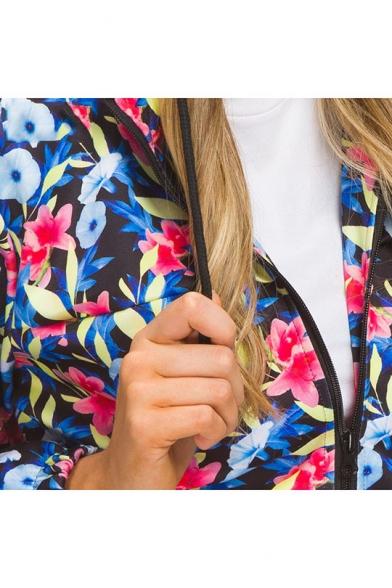 Womens Fancy Floral Printed Hooded Long Sleeve Zip Up Windbreaker Coat