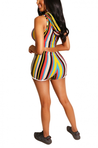 Womens Fashion Stripe Printed Hooded Sleeveless Crop Tank with Slim Shorts Two-Piece Set