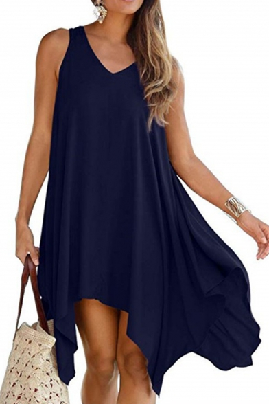 Womens Hot Fashion V-Neck Sleeveless Hollowed Back Plain Asymmetrical Midi Dress