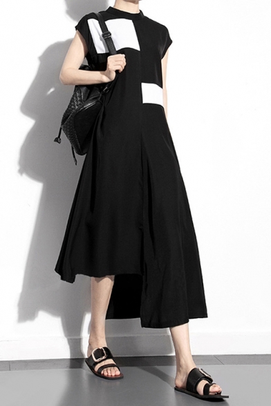 Womens New Trend Stand collar Sleeveless Color Block Asymmetrical A-Line Black Maxi Dress LM558834 фото