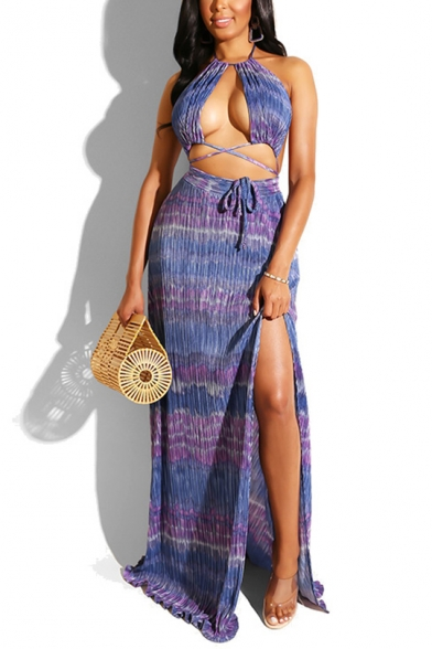 Womens New Trendy Crop Cutout Cami Top with Maxi Split Side Skirt Two-Piece Set