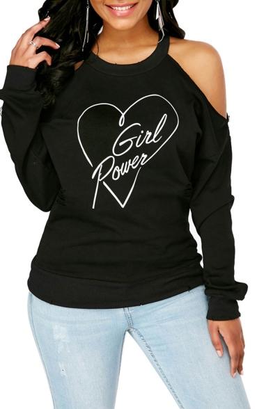 Женские Новая Мода Шею С Открытыми Плечами С Длинным Рукавом Женская Сила Сердца Печатных Пуловер Кофты