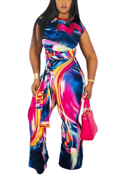 Womens Popular Tie-Dye Multicolor Print Patterns Cap Sleeve Round Neck Tops Bow High Waist Workout Pants Co-ords, LM556466