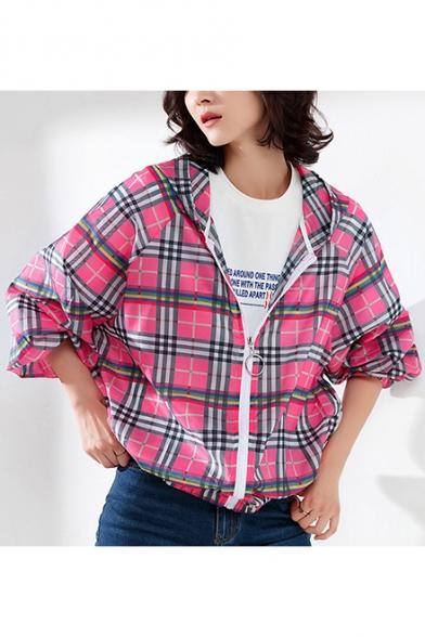 Womens Stylish Plaid Printed Long Sleeve Hooded Zip Up Chiffon Sunscreen Coat