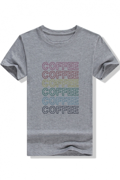 Womens Stylish Short Sleeve Round Neck COFFEE Letter Printed Straight T Shirt