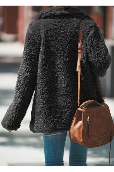 Womens Winter Hot Fashion Lapel Collar Faux Fur Open Front Fluffy Teddy Coat
