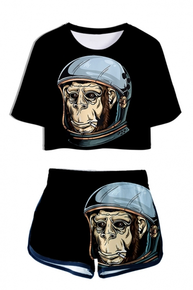 Cool Funny 3D Crown Gorilla Printed Short Sleeve Crop Tee with Dolphin Shorts Two-Piece Set