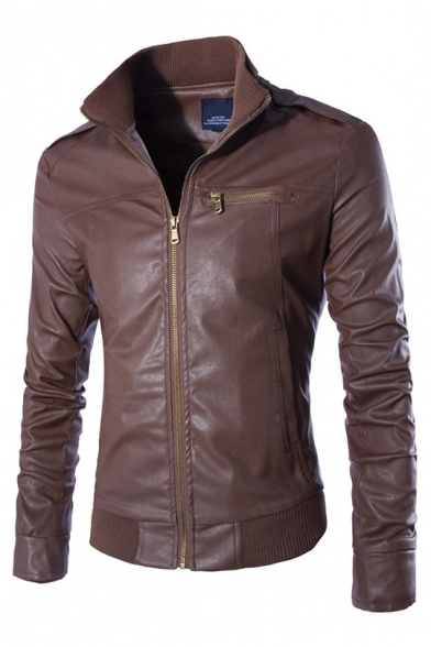 Cool Retro Washed Long Sleeve Zipper Casual Solid PU Moto Jacket For Men