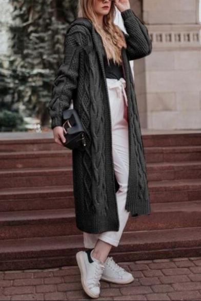 Fashion Hooded Long Sleeve Simple Plain  Maxi Cardigan