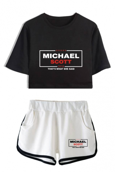 Fashion Letter Michael Scott Print Short Sleeve Crop Tee with Dolphin Shorts Two-Piece Set