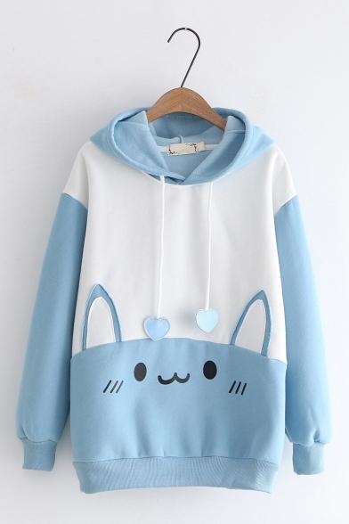 Girls Cute Cartoon Cat Pattern Love Drawstring Long Sleeves Color Block Pocket Hoodie