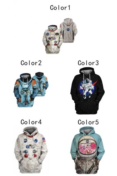 New Fashion Guys 3D Astronaut NASA Logo Printed Long Sleeve Unisex Pullover Hoodie